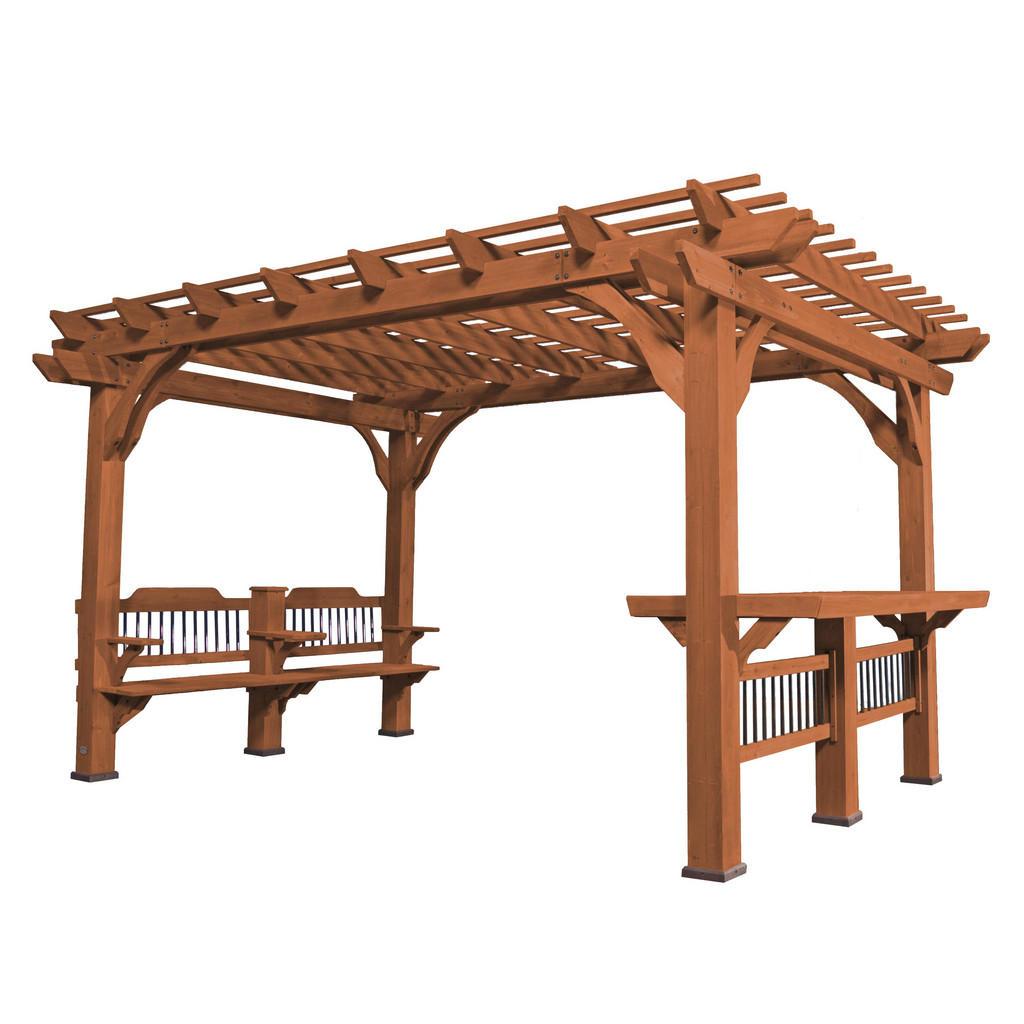 *NEU*: Gartenpergola aus Holz mit Tisch und Sitzfläche, braun