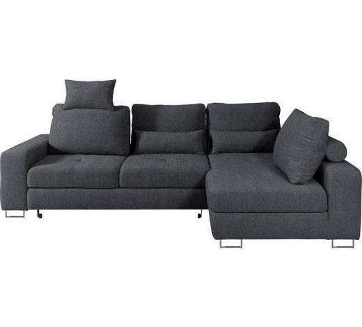 WOHNLANDSCHAFT Anthrazit Webstoff  - Anthrazit, Design, Textil/Metall (260/188cm) - Hom`in
