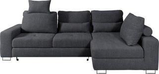 WOHNLANDSCHAFT in Textil Dunkelgrau - Dunkelgrau, Design, Textil/Metall (260/188cm) - Hom`in
