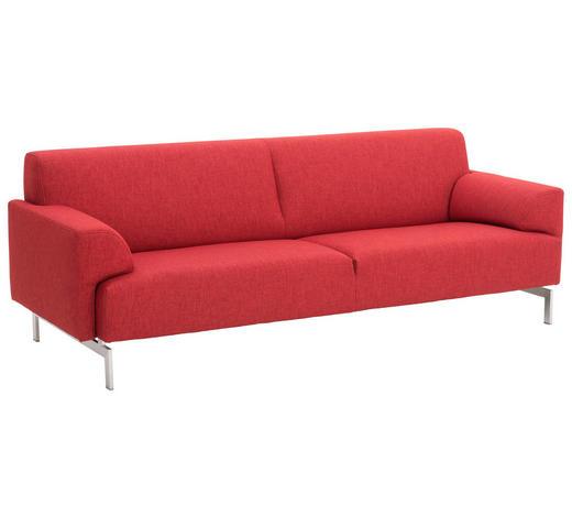 SOFA in Textil Rot - Edelstahlfarben/Rot, Design, Textil/Metall (224/78/91cm) - Rolf Benz
