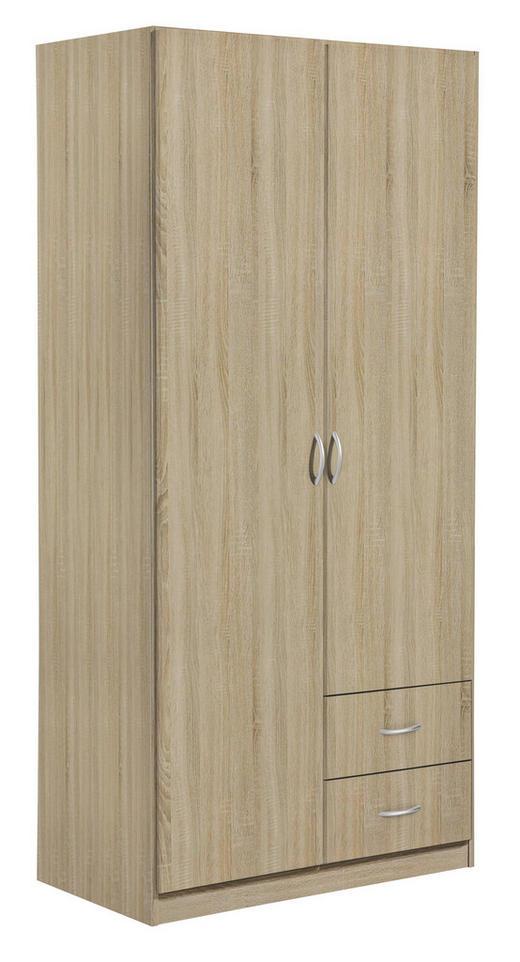 KLEIDERSCHRANK 2-türig Sonoma Eiche - Silberfarben/Sonoma Eiche, Design, Holzwerkstoff/Kunststoff (91/197/54cm) - Carryhome