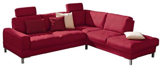 WOHNLANDSCHAFT Rot Echtleder - Chromfarben/Rot, Design, Leder/Metall (254/242cm) - Musterring