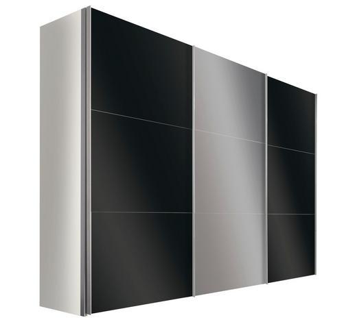 SCHWEBETÜRENSCHRANK in Weiß  - Alufarben/Weiß, Design, Glas/Holzwerkstoff (300/216/68cm) - Hom`in