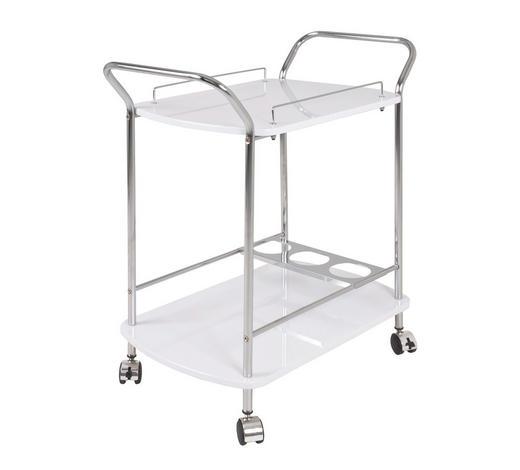 SERVIERWAGEN Metall Weiß, Chromfarben - Chromfarben/Weiß, Design, Metall (76/43/84cm)