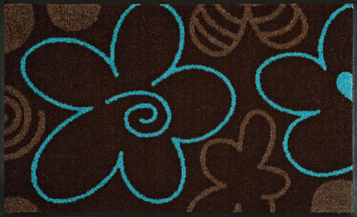 FUßMATTE 50/75 cm Graphik Braun, Hellblau - Braun/Hellblau, Kunststoff/Textil (50/75cm) - Esposa