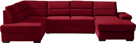 WOHNLANDSCHAFT in Textil Rot - Dunkelbraun/Rot, KONVENTIONELL, Kunststoff/Textil (183/319/166cm) - Cantus