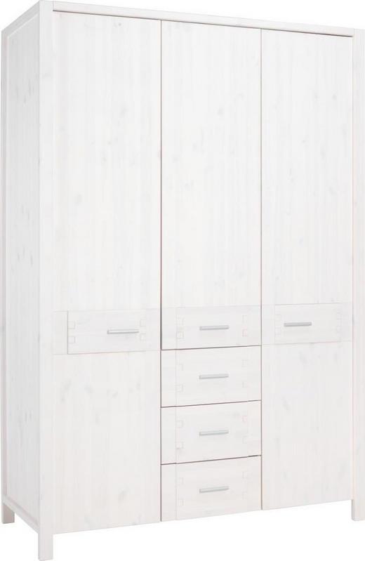 DREHTÜRENSCHRANK 3  -türig Kiefer vollmassiv Weiß - Alufarben/Weiß, LIFESTYLE, Holz/Metall (140/207/60cm) - LINEA NATURA