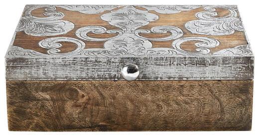 AUFBEWAHRUNGSBOX - Silberfarben/Braun, Basics, Holz/Metall (30,48/22,86/10,16cm) - Ambia Home