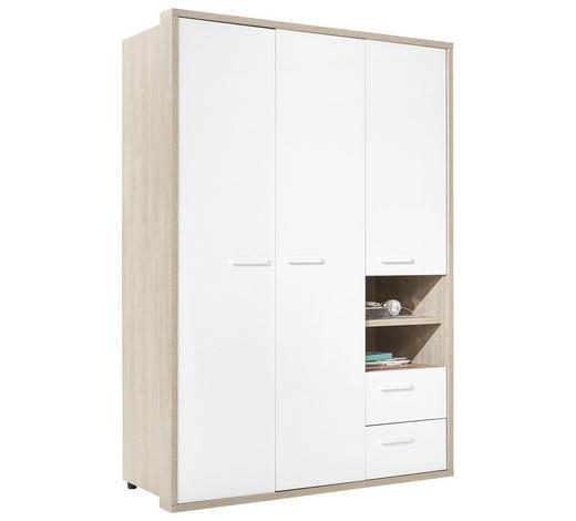 KLEIDERSCHRANK 3-türig Weiß, Eichefarben  - Eichefarben/Weiß, KONVENTIONELL, Holzwerkstoff (152,6/216,6/63,4cm) - Xora