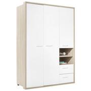 OMARA ZA OBLAČILA, bela, hrast  - bela/hrast, Konvencionalno, leseni material (152,6/216,6/63,4cm) - Xora
