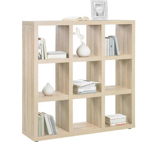 DĚLICÍ STĚNA, barvy dubu - barvy dubu/barvy hliníku, Design, kompozitní dřevo/umělá hmota (123/124/35cm)