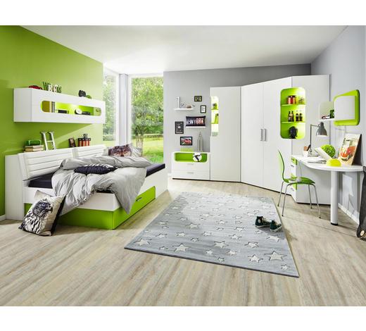 ECKKLEIDERSCHRANK 2-türig Weiß, Hellgrün  - Weiß/Hellgrün, Design (150/210/128cm) - Venda