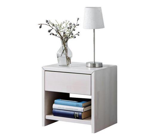 NACHTKÄSTCHEN in massiv Buche Weiß - Weiß, Design, Holz (40/40/40cm)