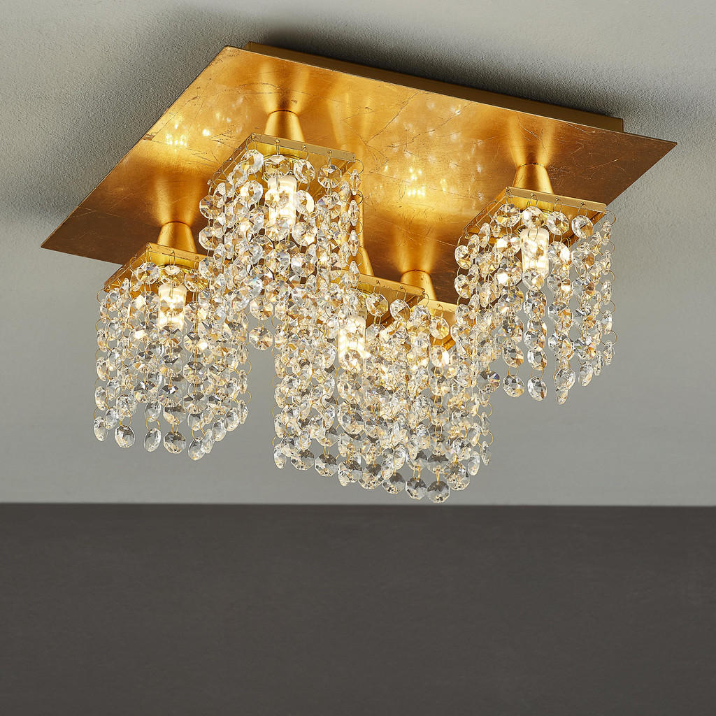 5-flammiger LED-Deckenlüster mit geschliffenen Prismen