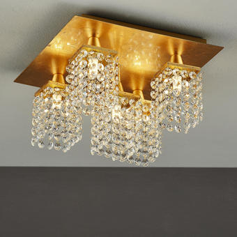 LED-DECKENLEUCHTE - Goldfarben, LIFESTYLE, Glas/Metall (29/29/19,5cm)