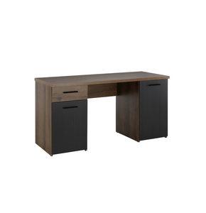 SKRIVBORD - gråbrun/svart, Design, metall/träbaserade material (145/76,3/60cm)