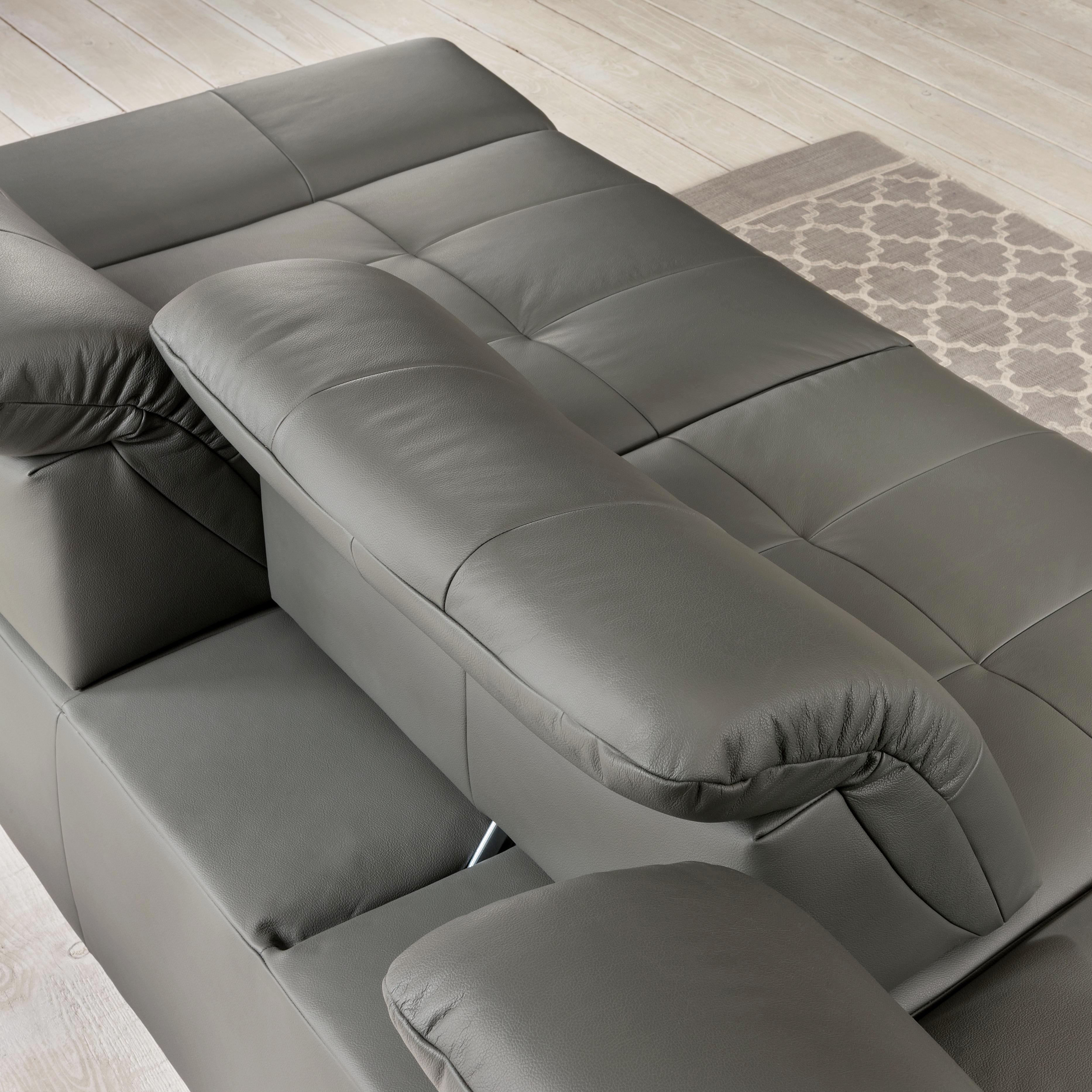 WOHNLANDSCHAFT Flachgewebe Rücken echt, Sitztiefenverstellung - Chromfarben/Anthrazit, Design, Textil (290/198cm) - XORA