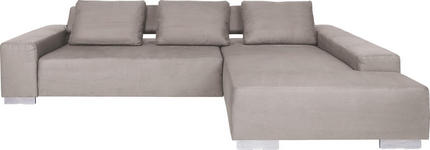 WOHNLANDSCHAFT Mikrofaser Rückenkissen - Schlammfarben/Alufarben, Design, Textil/Metall (304/204cm) - DIETER KNOLL
