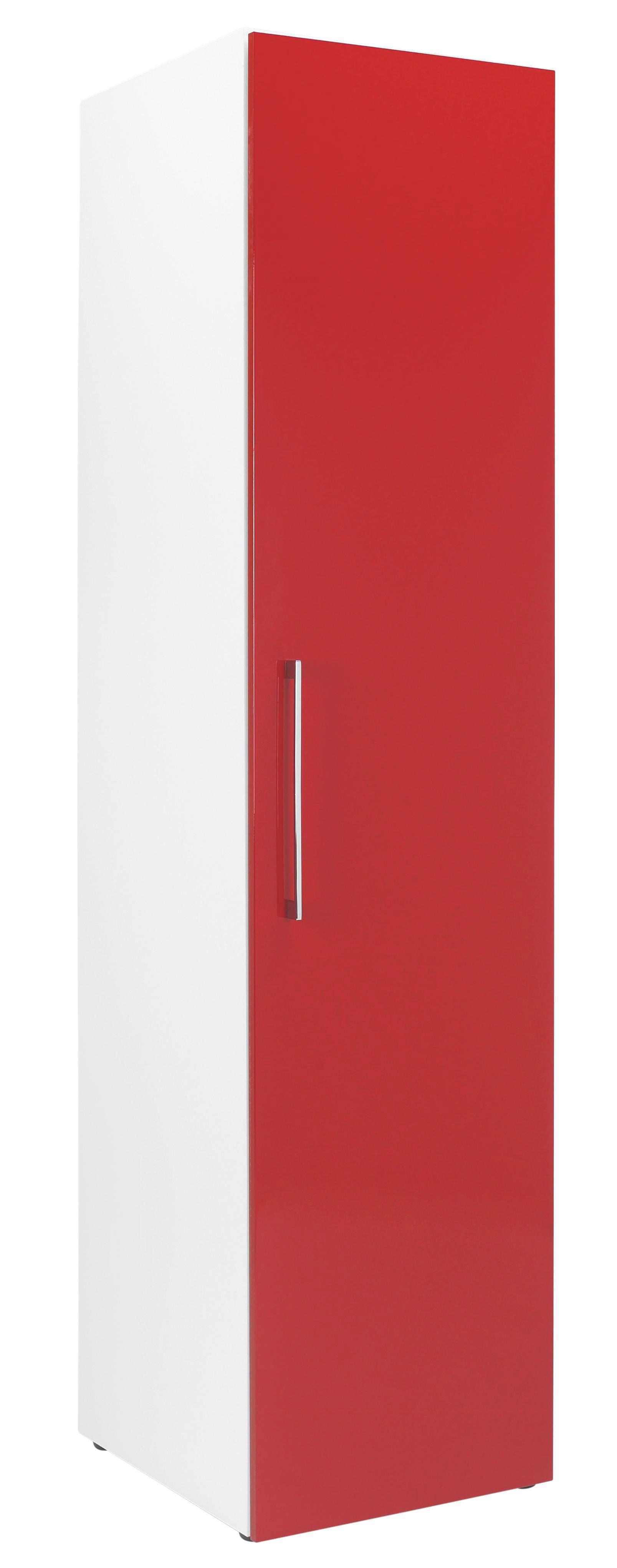 KLEIDERSCHRANK in Rot, Weiß - Chromfarben/Rot, Design, Holzwerkstoff/Metall (50/208/57cm) - WELNOVA