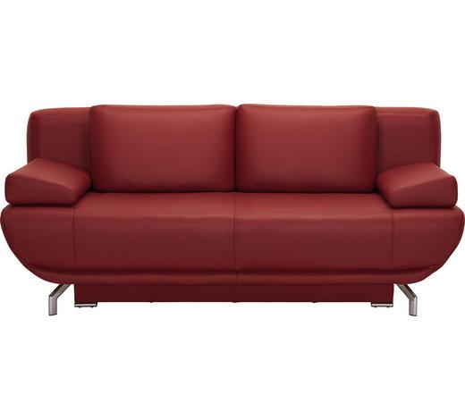 ROZKLÁDACÍ POHOVKA, vínově červená, kůže, - barvy chromu/vínově červená, Design, kov/kůže (210/87/97cm) - Novel