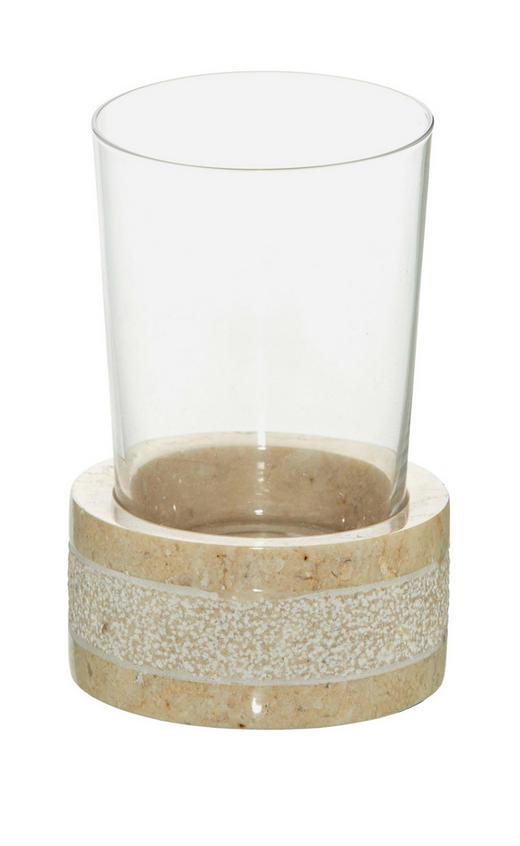 KALÍŠEK NA ÚSTNÍ HYGIENU - šedá, Basics, kámen/sklo (9/20.5/9cm)