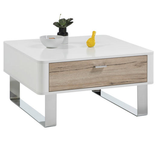 COUCHTISCH quadratisch Weiß, Eichefarben  - Edelstahlfarben/Eichefarben, Design (77/77/40cm) - Carryhome