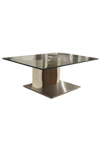 KONFERENČNÍ STOLEK, trámový dub, bílá, barvy nerez oceli, tmavě hnědá - bílá/tmavě hnědá, Design, kov/dřevo (110/75/43cm) - Moderano