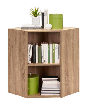 HÖRNHYLLA - Sonoma ek/svart, Design, träbaserade material/plast (59,5/76,8/59,5cm) - Carryhome