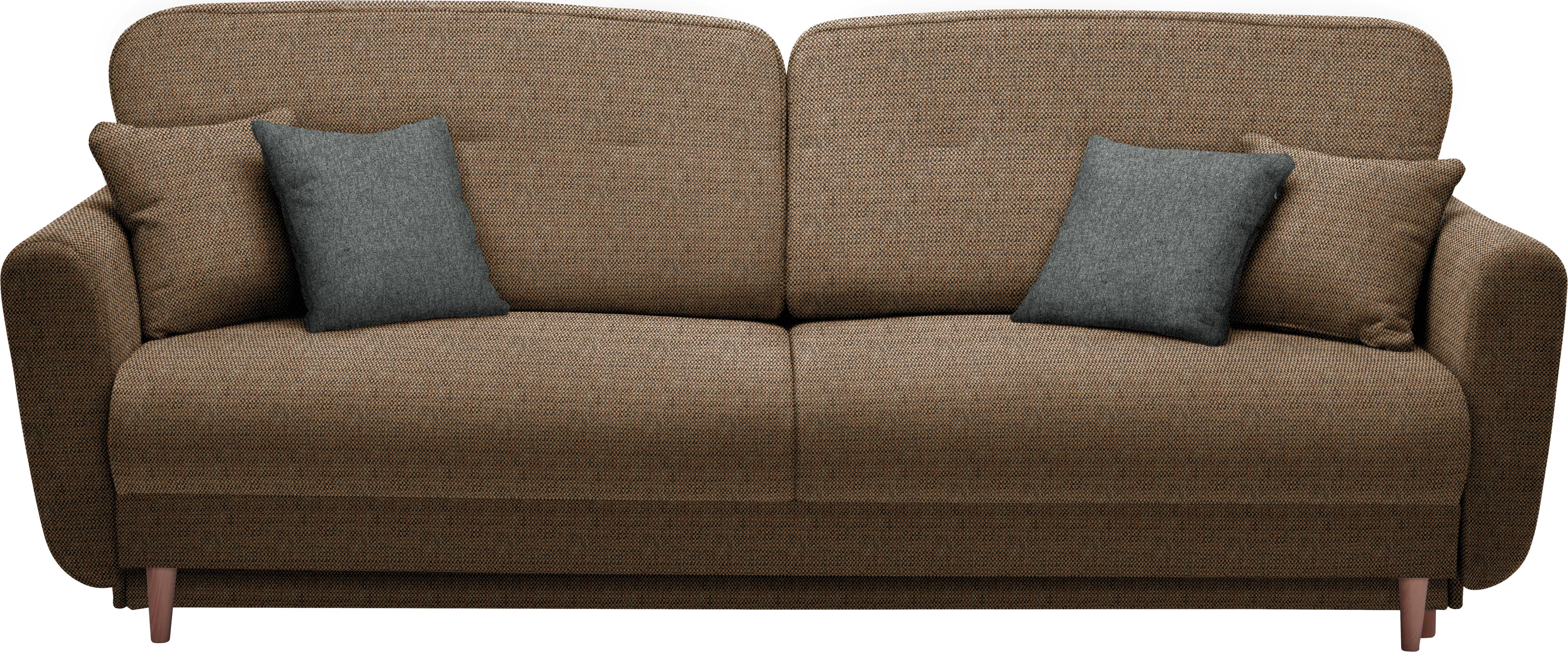 DREISITZER-SOFA Webstoff Braun, Orange - Anthrazit/Braun, Design, Holz/Textil (235/87/98cm) - HOM`IN