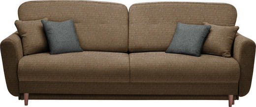 DREISITZER-SOFA Webstoff Braun, Orange - Anthrazit/Braun, Design, Holz/Textil (235/87/98cm) - Hom`in