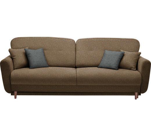 DREISITZER-SOFA in Textil Braun, Orange - Anthrazit/Braun, Design, Holz/Textil (235/87/98cm) - Hom`in