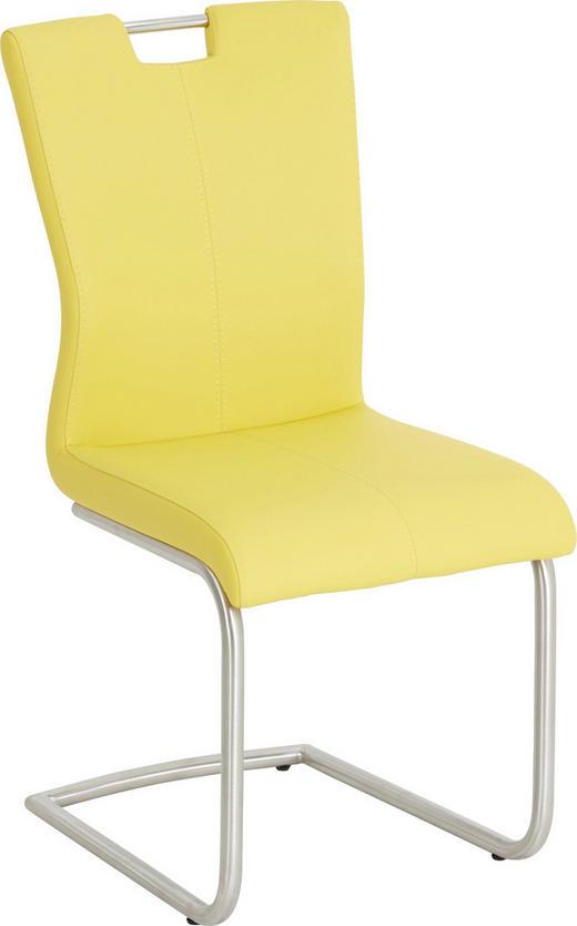 HOUPACÍ ŽIDLE, kov, textil, barvy nerez oceli, žlutá, - bílá/žlutá, Design, kov/textil (46/98/53cm) - Dieter Knoll