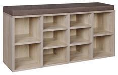 SCHUHBANK 103,5/53/30 cm  - Braun/Sonoma Eiche, KONVENTIONELL, Holzwerkstoff/Textil (103,5/53/30cm) - Carryhome