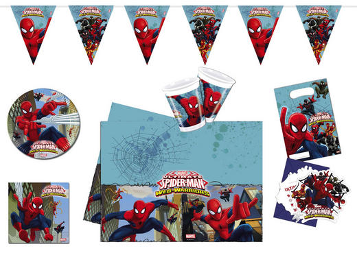 "Partyset ""Spiderman"" - Blau/Rot, Papier/Kunststoff"
