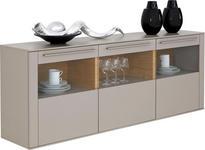 HÄNGESIDEBOARD 195/73/41,2 cm  - Edelstahlfarben/Fango, Design, Glas/Holz (195/73/41,2cm) - Moderano