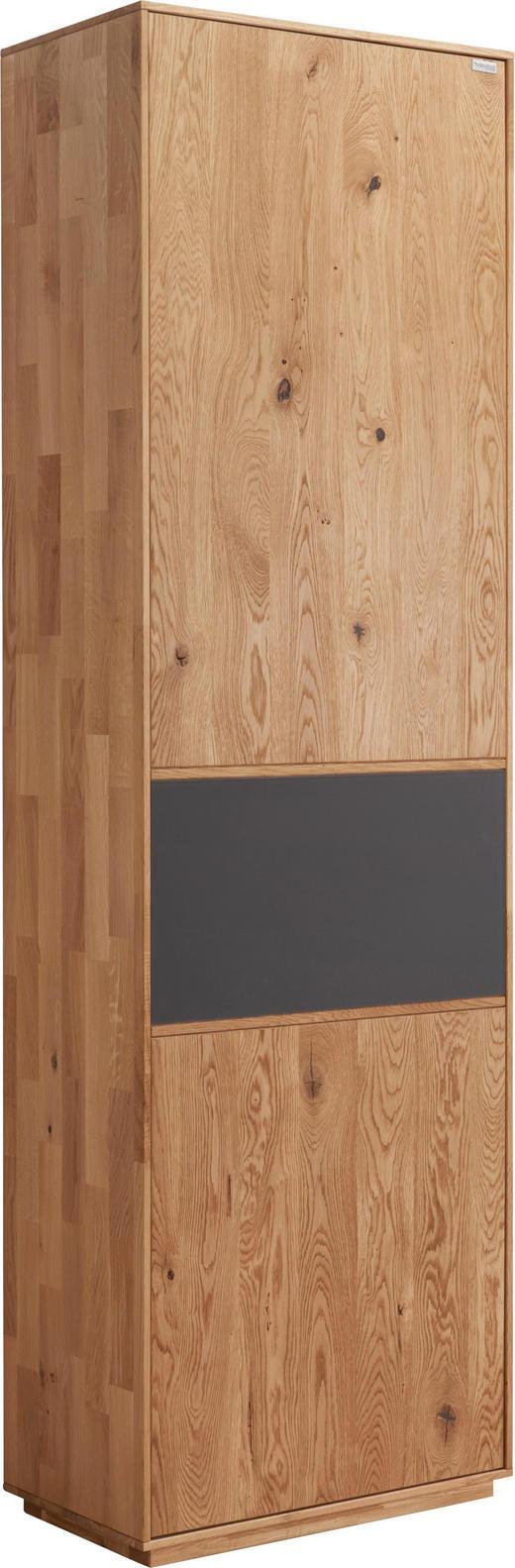 GARDEROBENSCHRANK Eiche massiv gebürstet Anthrazit, Eichefarben - Eichefarben/Anthrazit, Design, Glas/Holz (60/205/38cm) - Valnatura