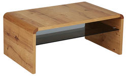 COUCHTISCH in Holz, Glas 109/65/46 cm   - Eichefarben, Design, Glas/Holz (109/65/46cm) - Moderano