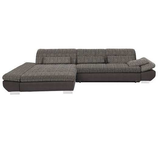 WOHNLANDSCHAFT in Textil Braun, Hellbraun  - Chromfarben/Hellbraun, Design, Kunststoff/Textil (204/341cm) - Xora