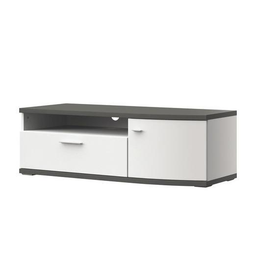 TV-ELEMENT Graphitfarben, Weiß - Graphitfarben/Alufarben, Design, Kunststoff/Metall (121,3/40,5/50cm) - Xora