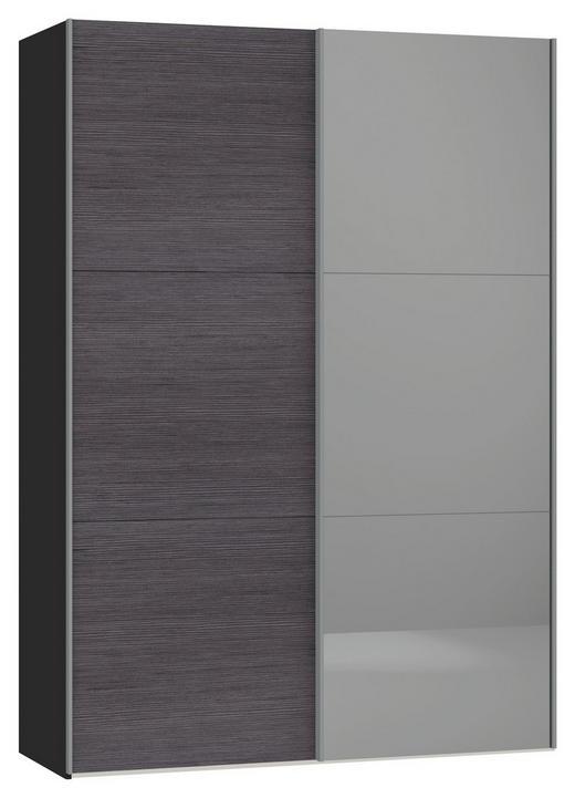 SCHWEBETÜRENSCHRANK 2-türig Anthrazit, Schwarz - Anthrazit/Silberfarben, Design, Glas/Holzwerkstoff (152,2/220/65cm) - Jutzler
