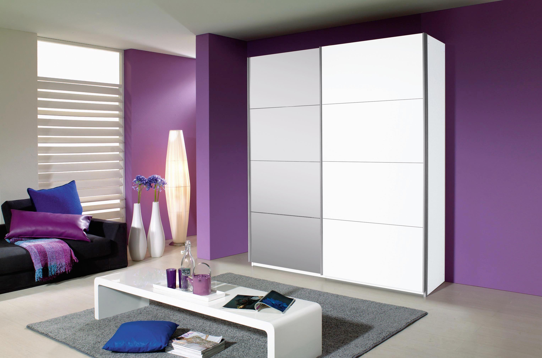SCHWEBETÜRENSCHRANK 2  -türig Weiß - Alufarben/Weiß, Design, Glas/Holzwerkstoff (181/210/62cm) - CARRYHOME