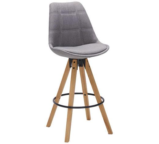 BAROVÁ ŽIDLE, barvy dubu, světle šedá - černá/barvy dubu, Design, kov/dřevo (49/113,5/56cm) - Carryhome