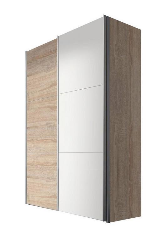 SCHWEBETÜRENSCHRANK 2  -türig Sonoma Eiche, Weiß - Alufarben/Weiß, KONVENTIONELL, Holzwerkstoff/Metall (150/216/68cm) - Hom`in