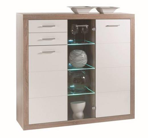 KOMODA VISOKA - bijela/boje hrasta, Design, staklo/drvni materijal (137/134/37cm) - XORA