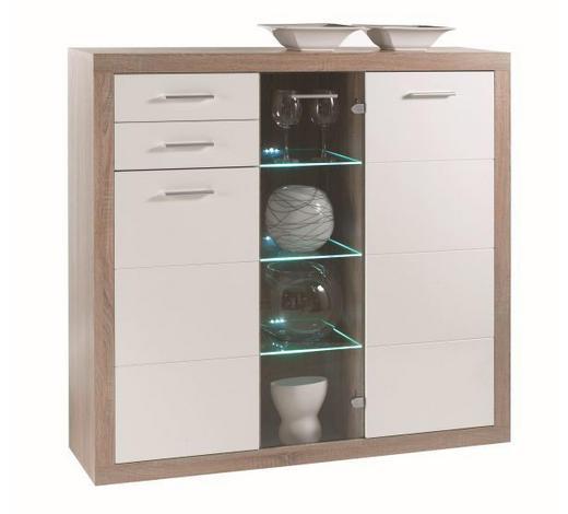 KOMODA VISOKA   137/134/37 cm   bijela, boje hrasta  - bijela/boje hrasta, Design, staklo/drvni materijal (137/134/37cm) - Xora