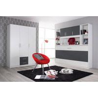DREHTÜRENSCHRANK in Grau, Weiß  - Silberfarben/Weiß, Design, Holzwerkstoff/Kunststoff (136/197/54cm) - Carryhome