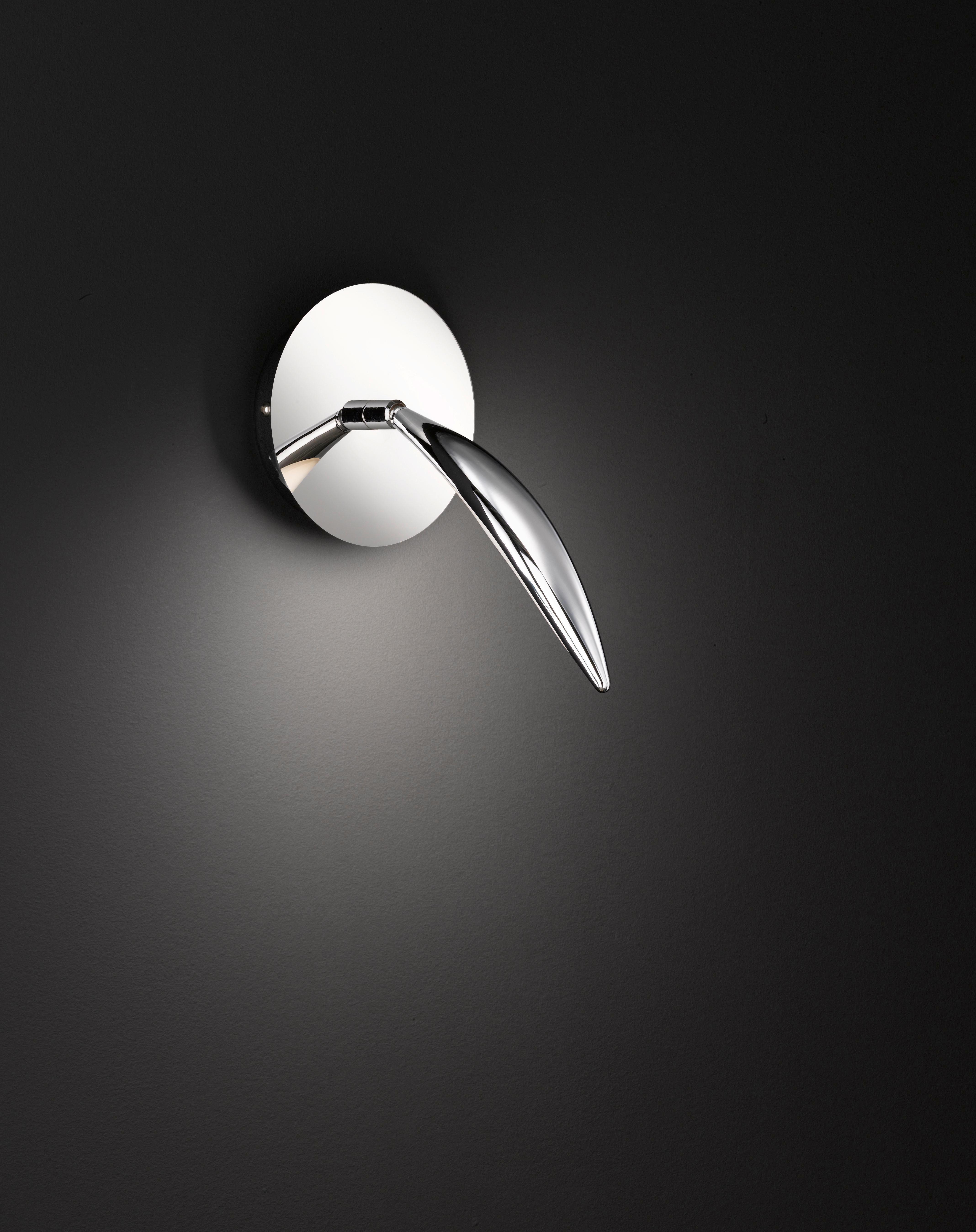LED-WANDLEUCHTE - Chromfarben, Design, Metall (14/14/25,5cm)