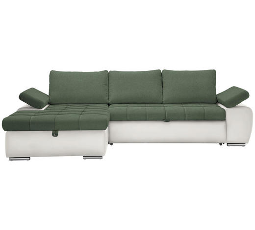 WOHNLANDSCHAFT in Textil Grün, Weiß  - Weiß/Nickelfarben, Design, Kunststoff/Textil (175/271cm) - Xora