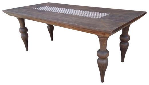 ESSTISCH Mangoholz massiv rechteckig Honig, Weiß - Weiß/Honig, Trend, Holz (200/100/76cm) - Ambia Home