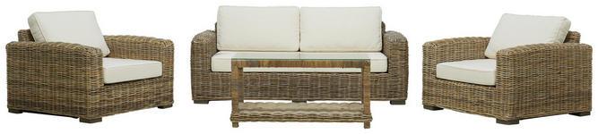 SITZGARNITUR in Holz, Textil Naturfarben, Weiß  - Naturfarben/Weiß, LIFESTYLE, Holz/Textil - Landscape